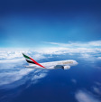Emirates Airbus A 380 over clouds