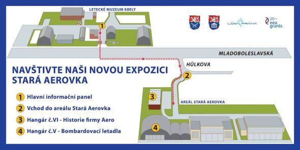 mapa letecké muzeum Kbely a Stará Aerovka