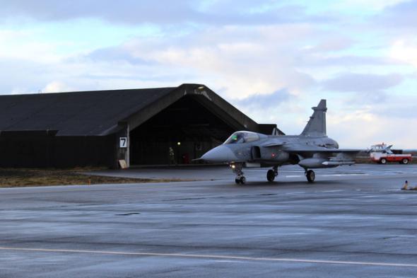 Český JAS 39 Gripen na základně Keflavík