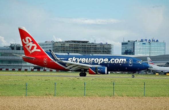 Boeing 737 SkyEurope před krachem v Praze