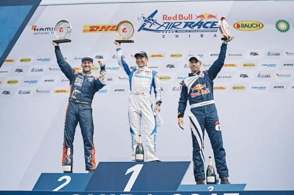 Stupně vítězů Red Bull Air Race 2017 Petr Kopfstein, Yoshihide Muroya, Martin Sonka