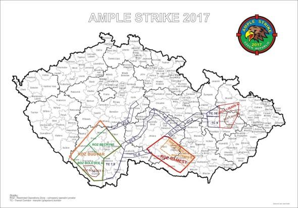 Mapa prostorů cvičení Ample Strike 2017