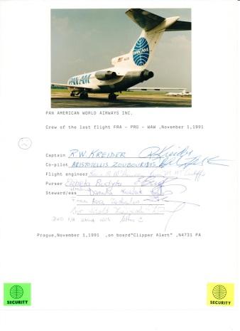 Pan Am poslední let Praha posádka