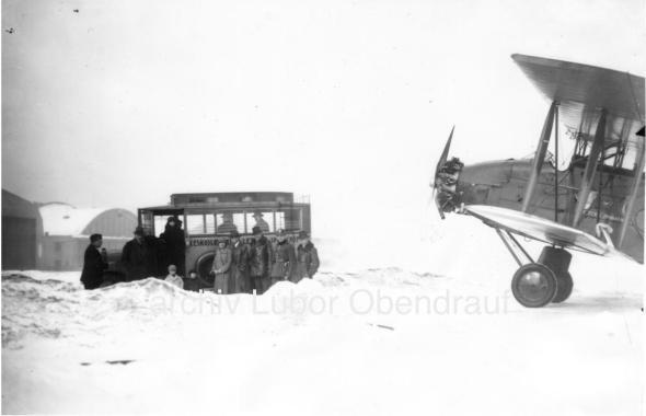 Airport Prague Kbely 1929 winter Avia BH 25J L BABF