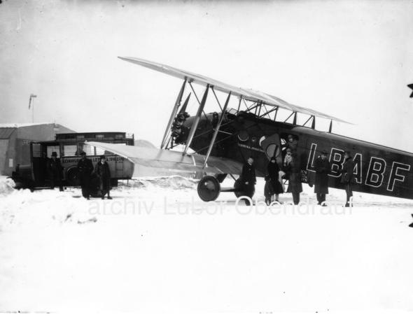 Airport Prague Kbely Czechoslovakia 1929 winter Avia BH 25J L BABF