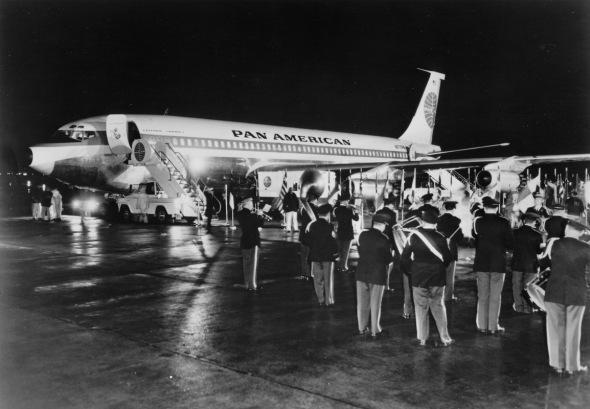Boeing 707 Pan Am první let Paříž 1958