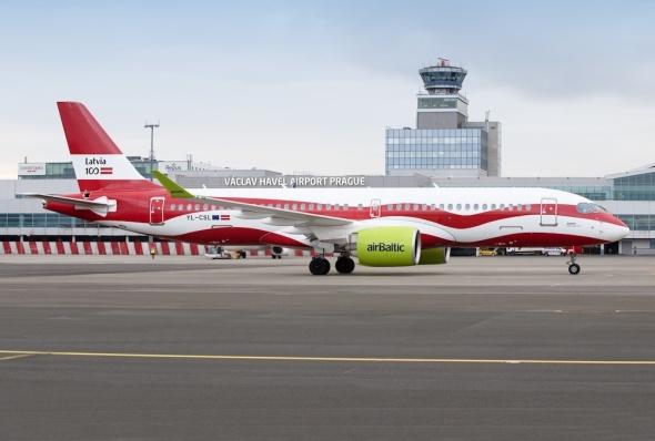 LKPR Prague Airport airBaltic Airbus A220-300