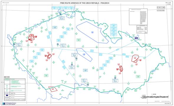 Mapa vzdušného prostoru FL254A po 25.2. 2021